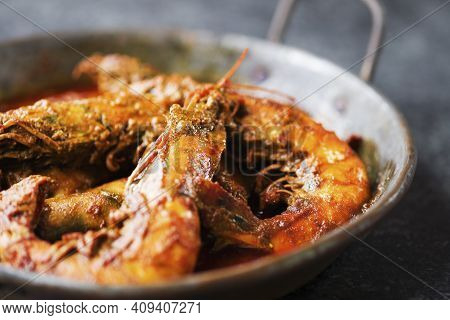 Close Up Of Pan Of Prawn In Spices