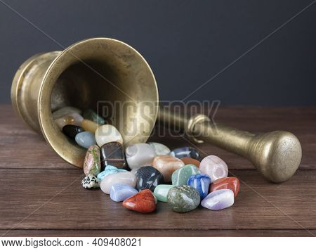Mortar With Pestle And A Plenty Of Gemstones. Concept Of Alchemy, Lithotherapy, Magic