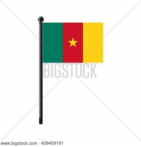 National Flag Of Cameroon In The Original Colours And On The Stick
