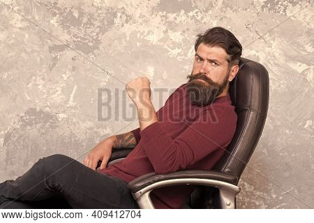Experienced And Mature Adult. Mature Manager Relax In Office Chair. Bearded Man In Mature Age. Busin