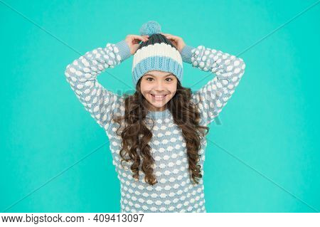 Happy Teen Girl In Knitwear. Kid Winter Fashion Style. Knitted Clothes For Cheerful Child. Teenager