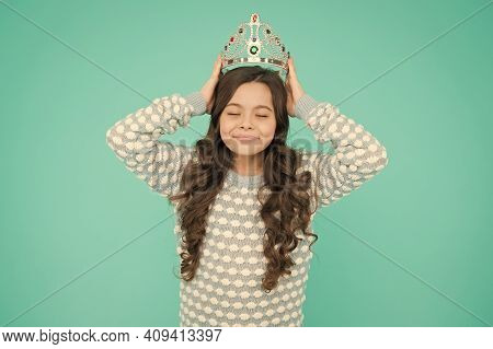 Girl Cute Baby Wear Crown Blue Background. Success And Happiness. So Pleased. Princess Concept. Girl