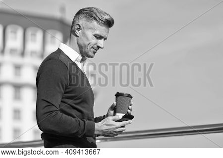 Living Mobile Lifestyle. Handsome Man Use Mobile Phone Outdoors. Morning Drink. Takeaway Coffee. Mob