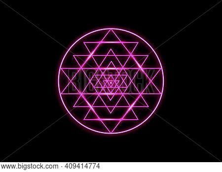 Sri Yantra Sacred Geometry, Pink Neon Sign Chakras Symbol Of Hindu Tantra Formed By Nine Interlockin