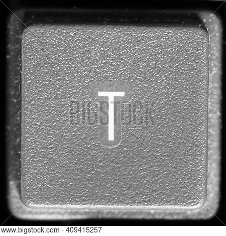 Letter T Key On Computer Keyboard Keypad