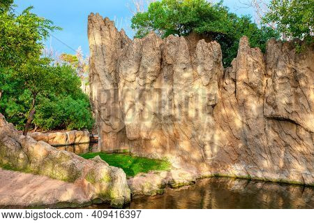 Amazonian Cliffs With River . Nature Like In Paradise
