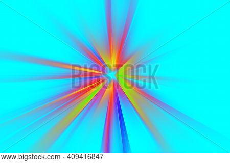 Abstract Surface Of Blur Radial Zoom In Juicy Pink And Yellow Tones On A Blue Background. Abstract B