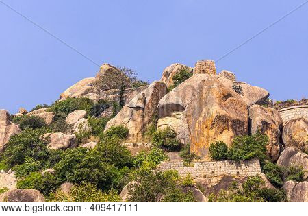 Chitradurga, Karnataka, India - November 10, 2013: Fort Or Elusuttina Kote. Brown Stone Rampart Wall