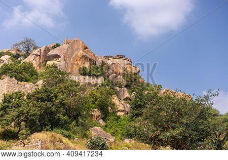 Chitradurga, Karnataka, India - November 10, 2013: Fort Or Elusuttina Kote. Half Circle Rampart On T