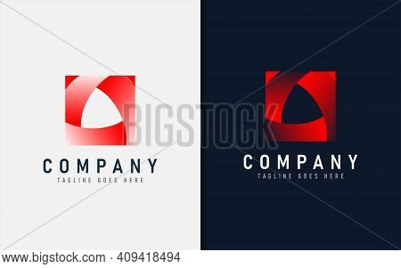 Abstract Red Square Logo Design. Usable For Brand Business And Company. Vector Logo Illustration. Gr