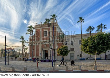 Jaffa, Israel - December 28, 2015: St. Peters Church The Bell Tower Of The Church