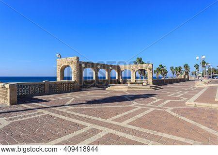 Tel Aviv, Israel - December 28, 2015: Old Buildings Near Sea In Tel Aviv Jaffo