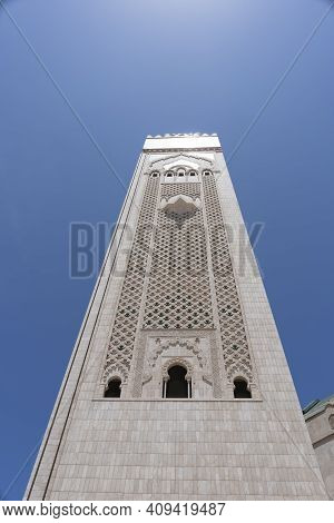 Low Angle View Of The Minaret Of Hassan Ii Mosque In Casablanca