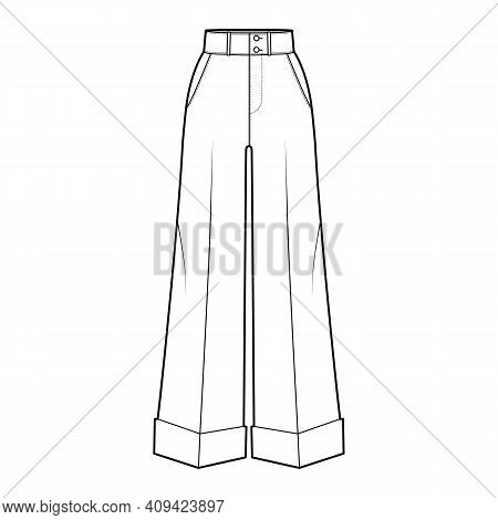Pants Oxford Tailored Technical Fashion Illustration With Normal Waist, High Rise, Full Length, Slan