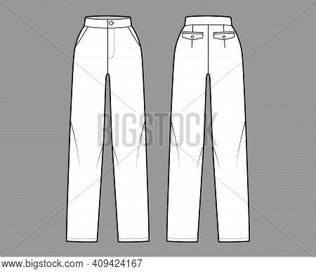 Pants Straight Technical Fashion Illustration With Flat Front, Normal Waist, High Rise, Full Length,