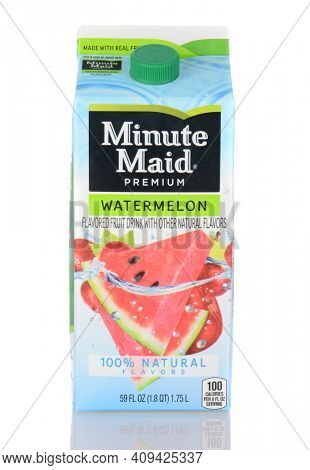 IRVINE, CA - January 05, 2014: A 59 oz. carton of Minute Maid Watermelon Fruit Drink. The Minute Maid company is owned by The Coca-Cola Company, the largest marketer of fruit juices and drinks.