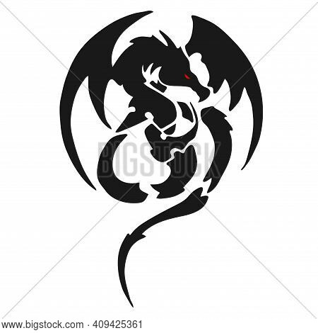 Dragon Tattoo Mockup. Dragon T-shirt Print. Vector Image