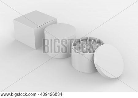 Herb Grinder Mockup Isolated On White Background. 3d Illustration