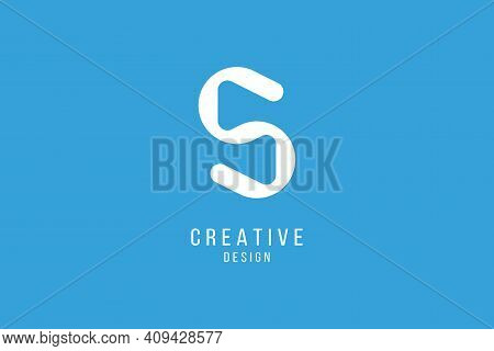 Original Letter S In Blue Colour For Logotype. Vector Sign For Logo Design. Flat Illustration Eps10.