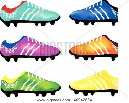 The Multicolor Illustration of Sport Football Boots