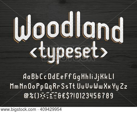 Woodland Alphabet Font. Vintage Letters, Numbers And Punctuations. Uppercase And Lowercase. Stock Ve