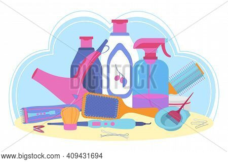 Hairdresser Tools And Cosmetic For Hair Care. Professional Accessories For Cleansing, Dying And Styl