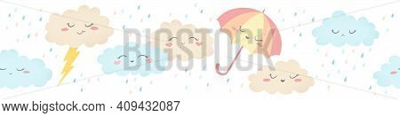 Seamless Horizontal Vector Pattern With Cute Hand Drawn Cartoon Clouds, Umbrellas And Raindrops Isol