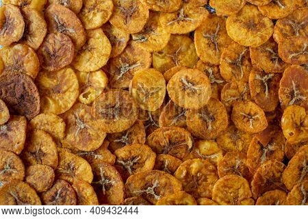 View Of Crispy Sweet Banana Chips. Common Indian Savory Item