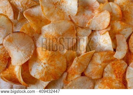 View Of Crunchy Tapioca Chips Which Is A Famous Indian Savory. Crispy Tapioca Sticks With Spices.