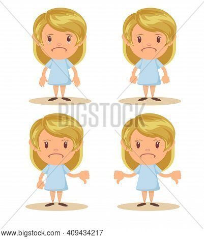 Little Girl Show Disagreement With Thumb Down Gesture. Small Discontented School Girl. Child Shows G