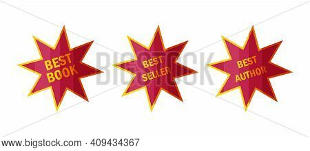 Best Seller Stickers And Badges. Star Labels For Top Book Sellers In Cartoon Style. Vector Illustrat