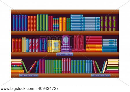 Bookstore Rack With Bestsellers And Sale Options. Shelves In Cartoon Style. Vector Illustration On W
