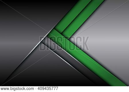Abstract Green Grey Metallic Arrow Direction With Blank Space Design Modern Futuristic Background Ep