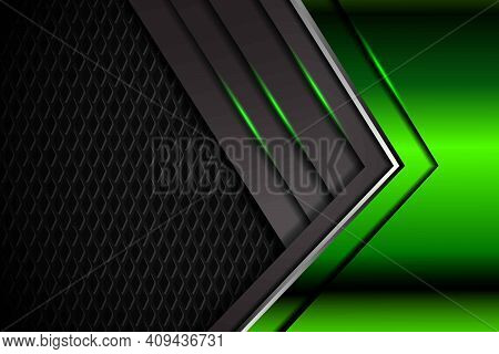 Abstract 3d Green Light Arrow Overlap On Dark Grey Glossy With Textured Modern Luxury Futuristic Tec