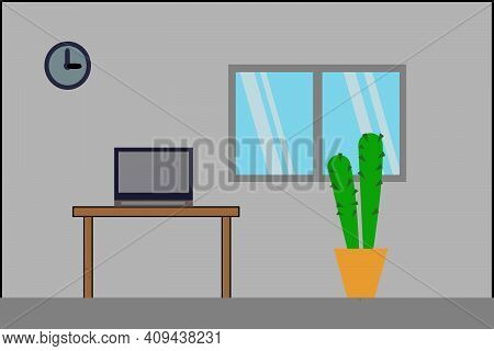Flat Elevation Window, Clock, On Wall Decorate, Furniture Interior Room Notebook On Table, Chair Cas
