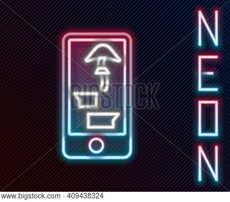 Glowing Neon Line Buying Drugs Online On Mobile Phone Icon Isolated On Black Background. Online Buyi