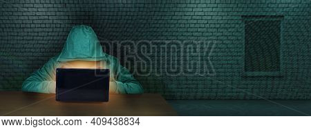 The Hacker Works Behind A Laptop Screen In A Room With A Brick Wall. Internet Crime. The Concept Of