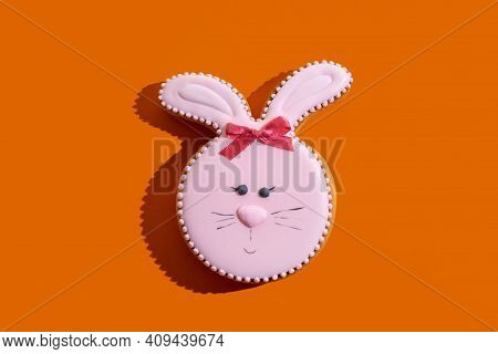 Cute Easter Bakery. Traditional Festive Pastry. Holiday Gift. Pretty Bunny Gingerbread Figure With P