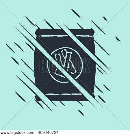 Black Hard Bread Chucks Crackers Icon Isolated On Green Background. Glitch Style. Vector Illustratio
