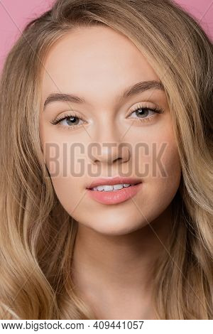 Fashion Natural Beauty Caucasian Young Blond Woman Smiling Over Pink Background. Concept Spa Lash An