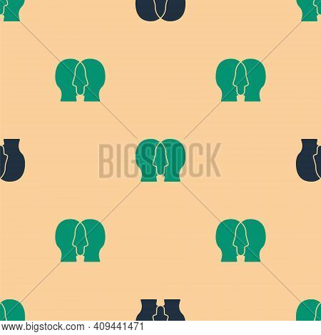Green And Black Bipolar Disorder Icon Isolated Seamless Pattern On Beige Background. Vector