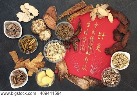 Traditional chinese herbal medicine with herbs, acupuncture needles and calligraphy script. Translation reads as Chinese medicine traditional and effective medical treatment solution method.
