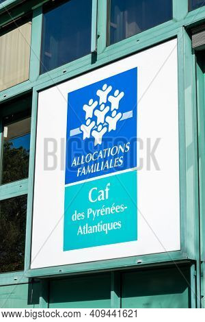 BAYONNE, FRANCE - CIRCA FEBRUARY 2021: Caisse d'Allocations Familiales or CAF des Pyrenees-Atlantiques. The CAF is the French family allowances fund.