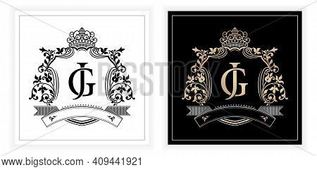 Jg Or Gj Initial Letter And Graphic Name Frames Border Of Floral Designs With Two Variation Colors,,