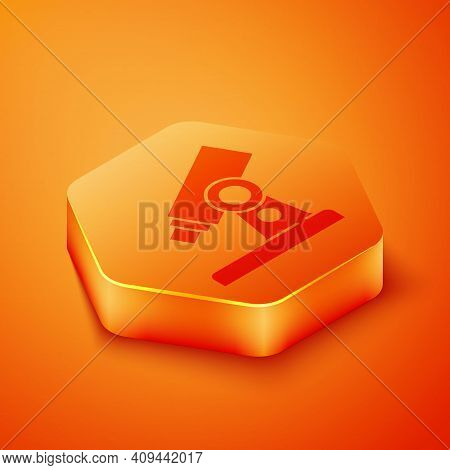 Isometric Microscope Icon Isolated On Orange Background. Chemistry, Pharmaceutical Instrument, Micro