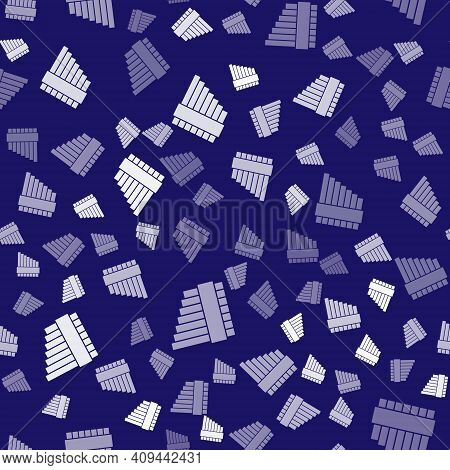 White Pan Flute Icon Isolated Seamless Pattern On Blue Background. Traditional Peruvian Musical Inst