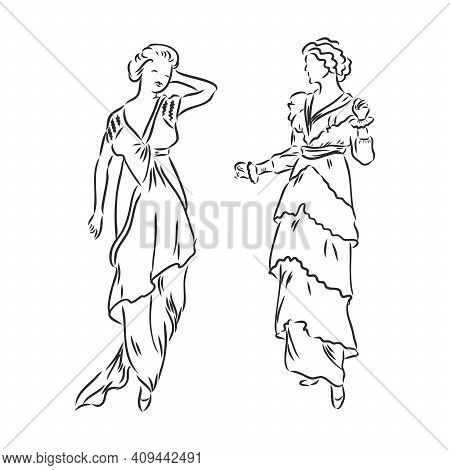 Antique Dressed Lady. Old Fashion Vector Illustration. Victorian Woman In Historical Dress. Vintage