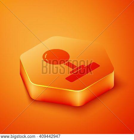 Isometric Joystick For Arcade Machine Icon Isolated On Orange Background. Joystick Gamepad. Orange H