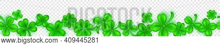 Banner On St. Patrick's Day Made Of Realistic Clover Leaves In Green Colors With Shadows On Transpar