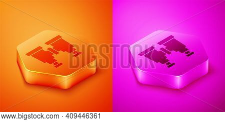Isometric Binoculars Icon Isolated On Orange And Pink Background. Find Software Sign. Spy Equipment